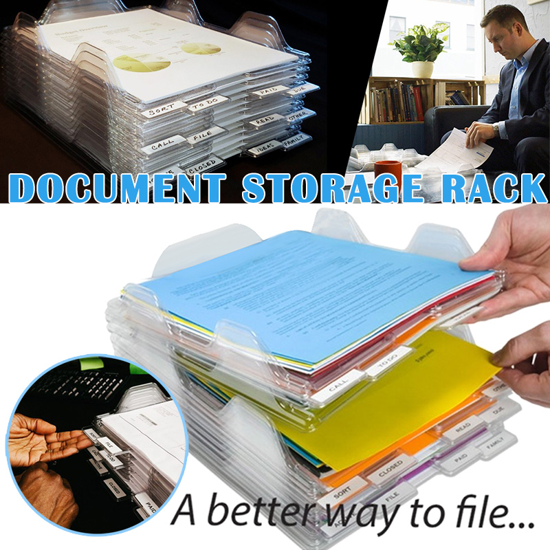 File Storage Box Document Rack Organizer Tray Stackable For Magazine Paper Office GK99