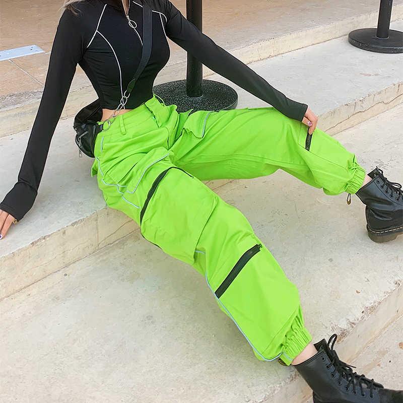 Tiras reflectantes de neón Hip Hop Cargo Pantalones mujer bolsillo holgado Casual pantalones de chándal señoras pantalones de cintura alta ASPA80555