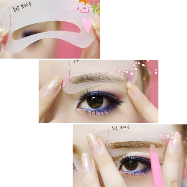 New 3 Styles Eyebrow Stencils Simple Class Drawing Card Makeup Tools DIY D5BF 1