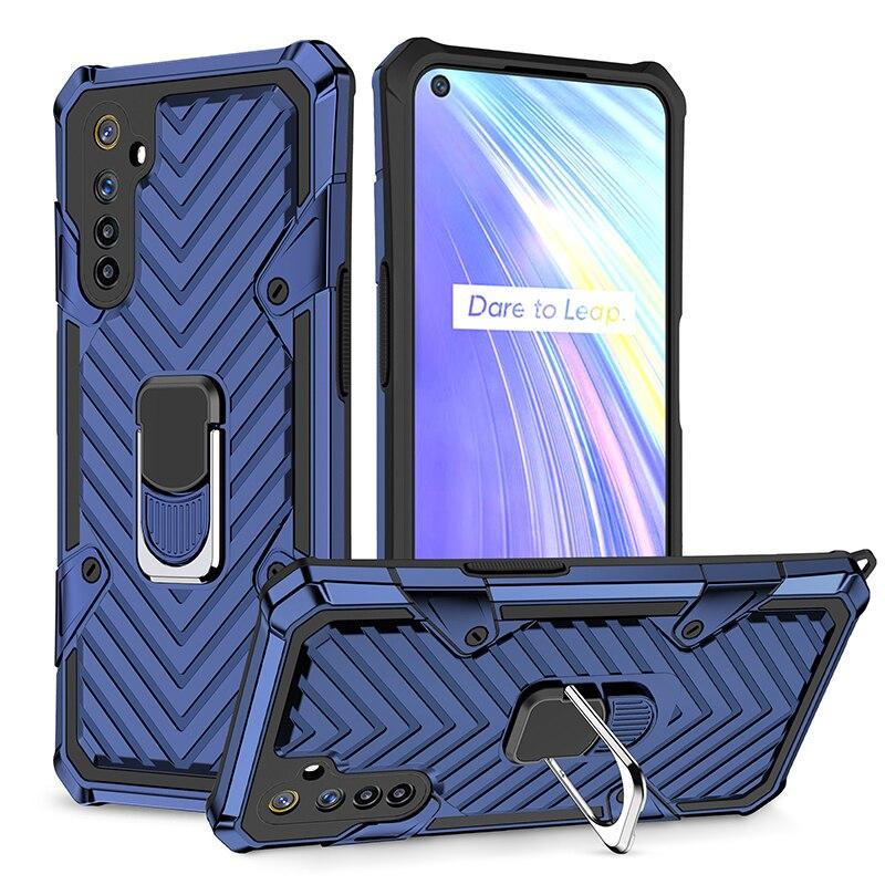 Высококачественный защитный чехол для OPPO Realme 6 Чехол на магните с отделениями для карт, кольцо чехол для телефона чехол для Realme 5 6i 5i 5S мягкий ...