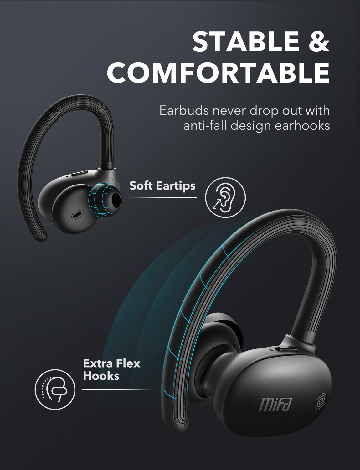 Mifa tws earbuds wireless bluetooth earphones bluetooth 5.0 stereo sport headphones 3d stereo sound earphone with mic