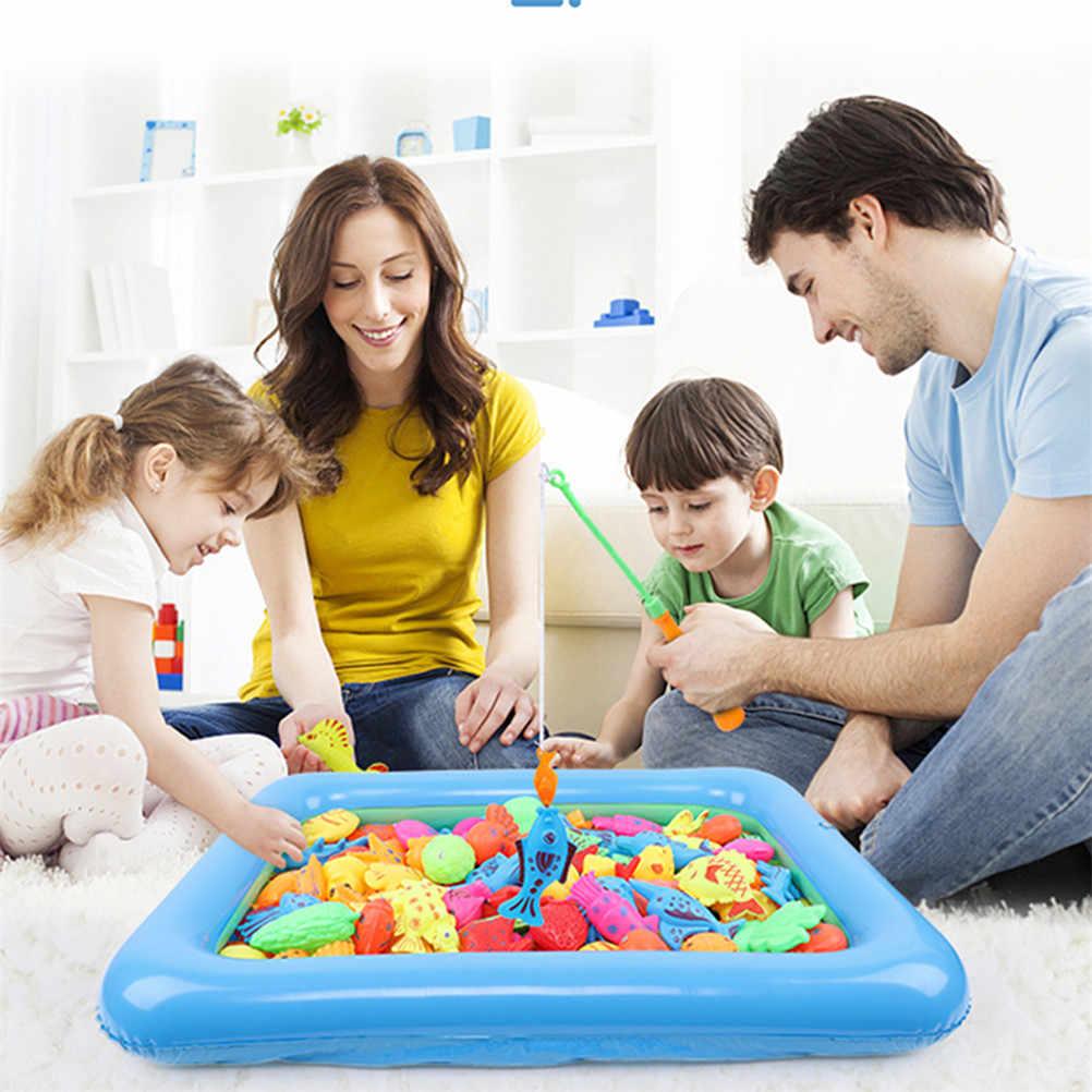 18 piezas juguetes de baño conjunto de doble Polo magnetismo de pesca de 2019 de juguete de los niños de educación de inteligencia agua suministros 42*28cm