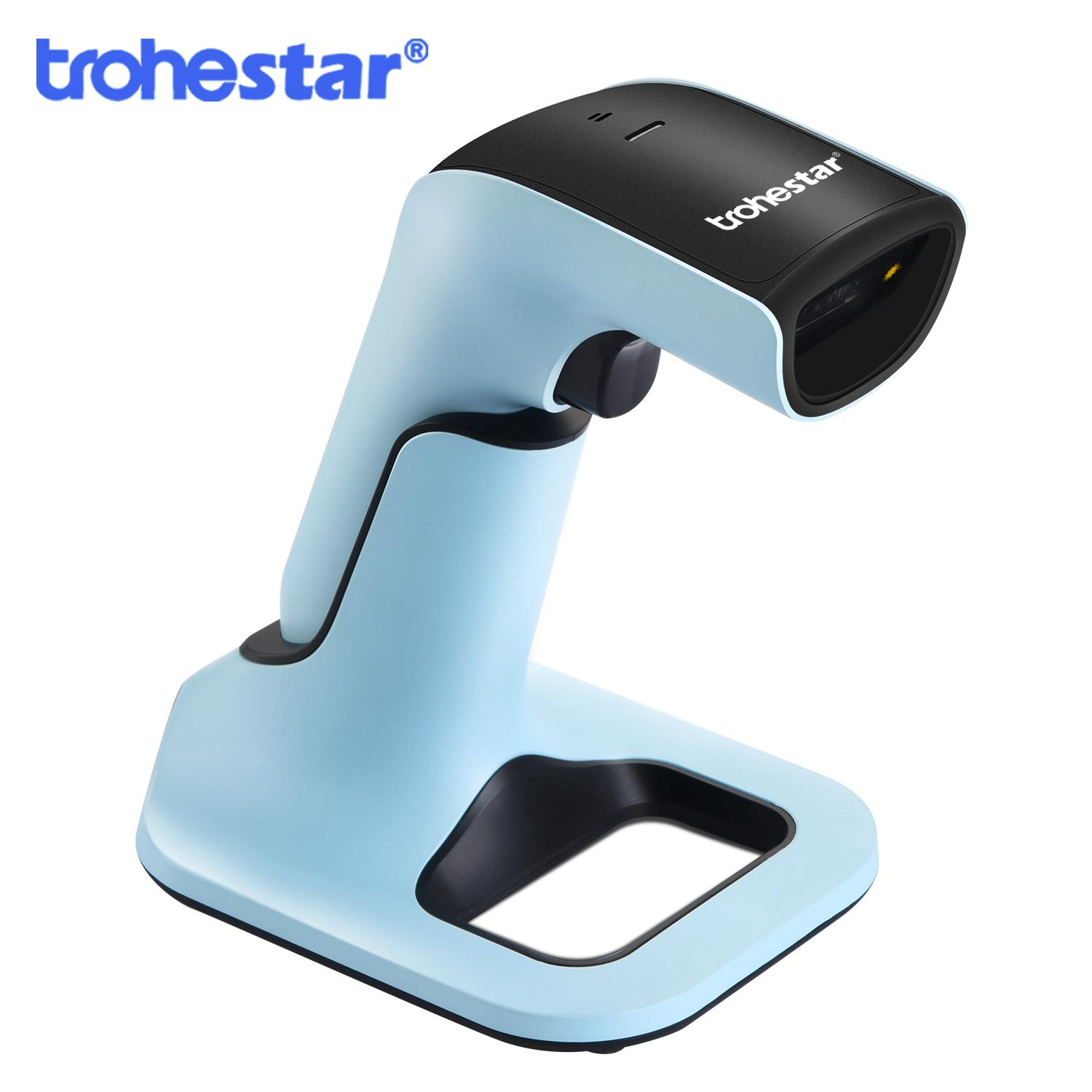 Wireless Barcode Scanner Portable 2 4GHz 1D 2D QR Barcode Inventory Bar Code Reader with Charging Cradle Scanners