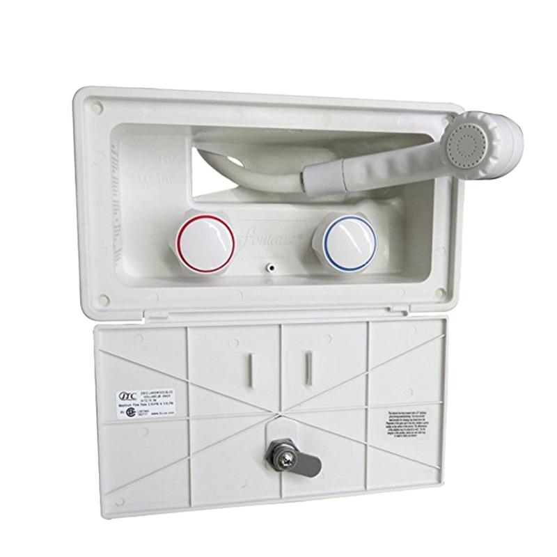 RV Exterior Shower Box With Lock-Includes Shower Faucet, Shower Hose, Shower Wand For Boat/Camper Motorhome/Caravan Accessories