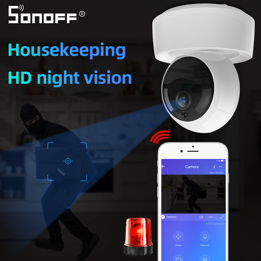 SONOFF GK-200MP2-B 1080P HD Wireless Smart Wifi Camera IP Mini Ewelink 360 IR Baby Monitor Security Alarm Work With Google Home
