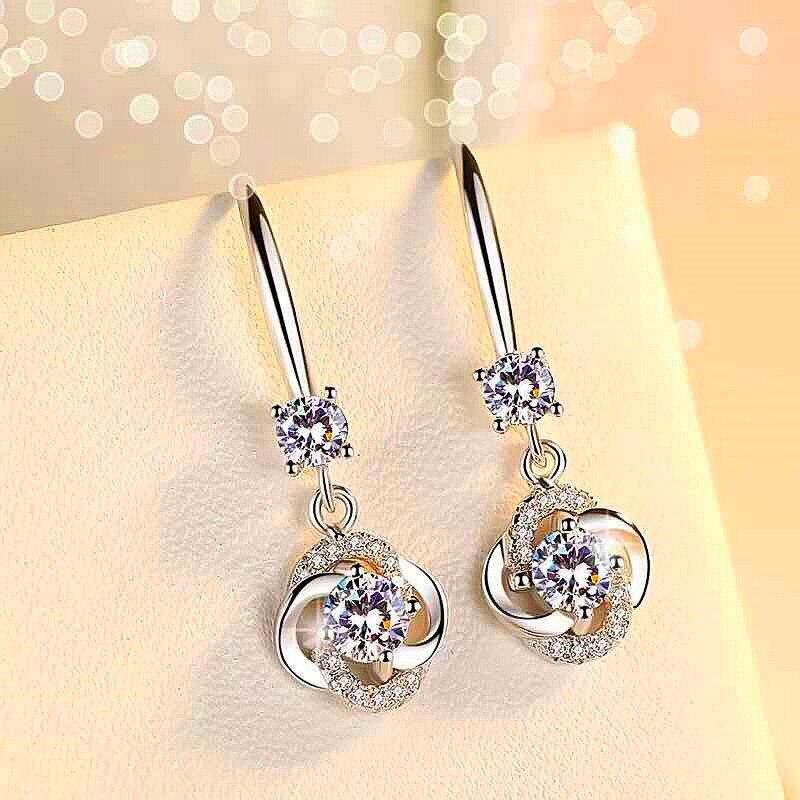 Romantic Lucky Clover Drop Earrings Crystal Zircon Stone Earrings Simple Dangle Earrings Jewelry For Women