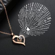 Rosa de ouro 100 línguas eu te amo projeção pingente colar romântico amor memória casamento colar para mulher kolye