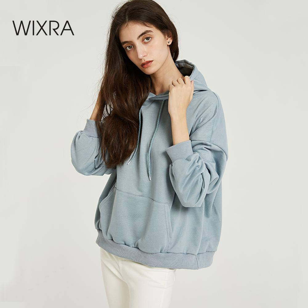 Wixra Women Casual Sweatshirts Solid Classic Long Sleeve Loose Hoodies Tops 2019 Autumn Spring Basic Pullover Tops