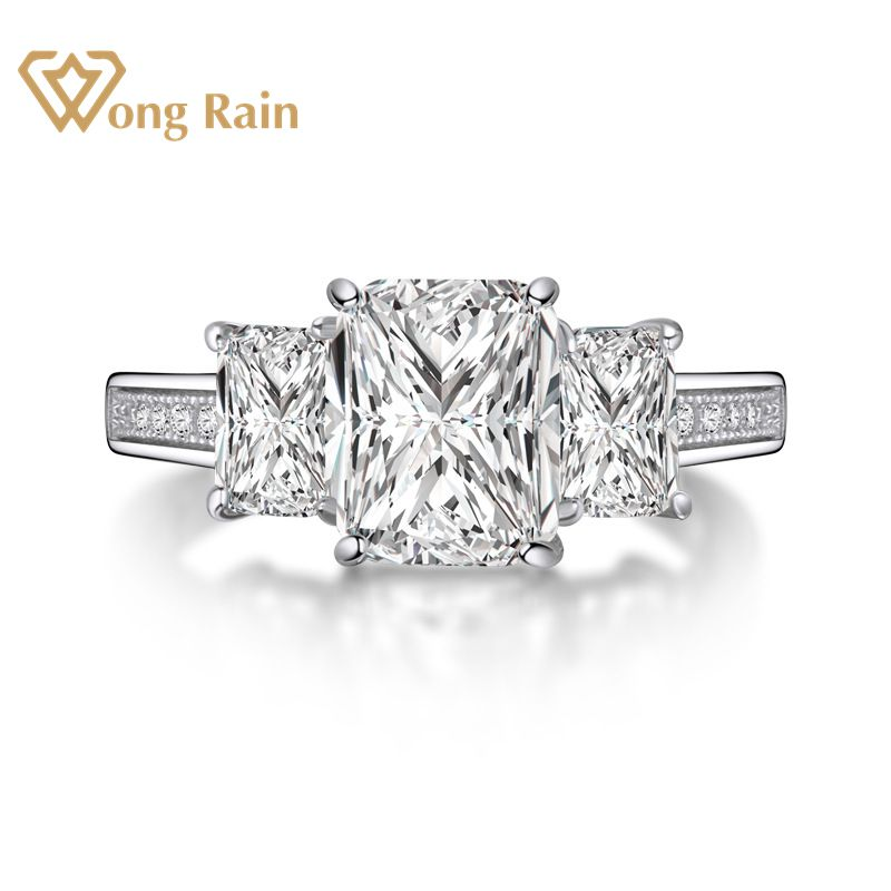 Wong Rain Vintage 100% 925 Sterling Silver Created Moissanite Gemstone Diamonds Wedding Engagement Ring Fine Jewelry Wholesale