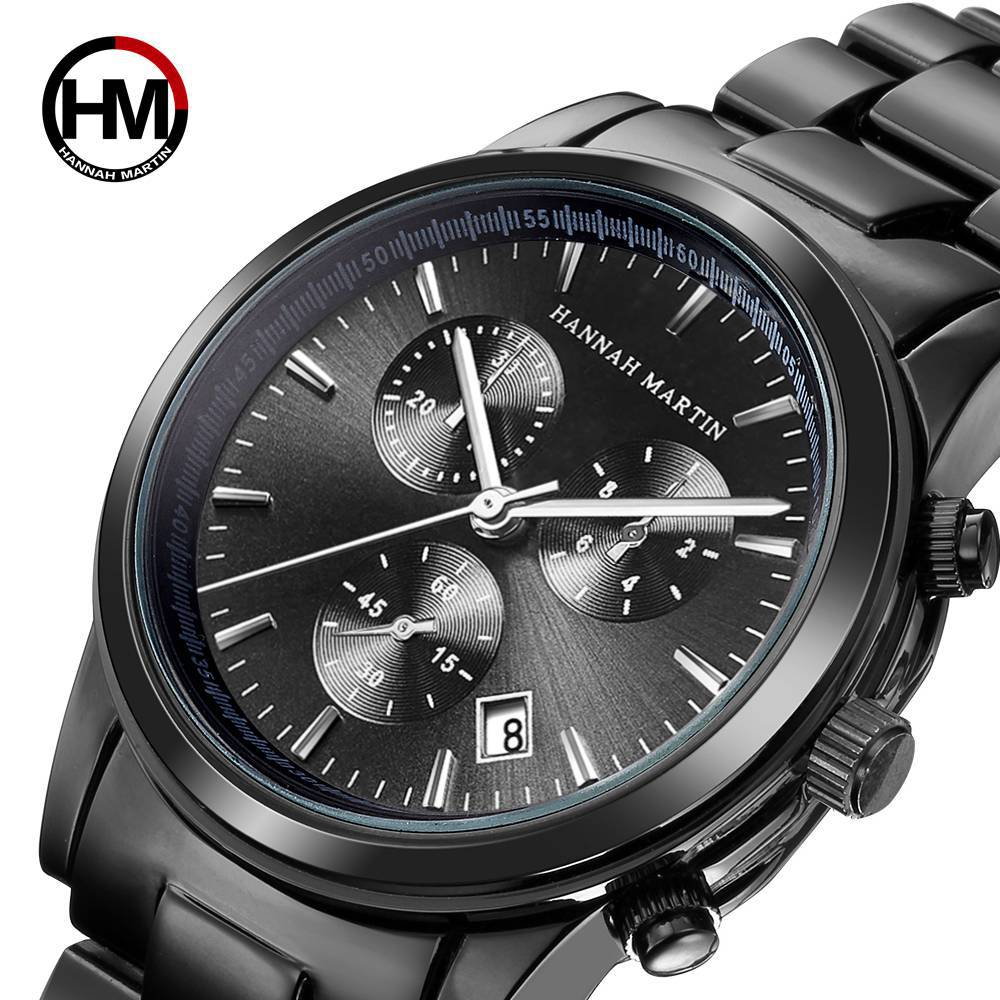 Hannah Martin Top Brand Luxury Women Watch Date Calendar Display Black Wristwatch Quartz Sports Men's Clock Relogio Masculino