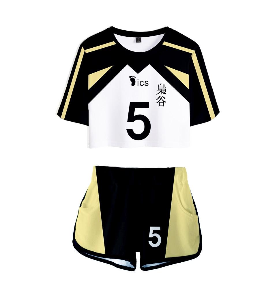 two pieces set of women's t-shirts and shorts haikyuu cosplay costume volleyball club fukurodani akaashi keiji bokuto koutarou