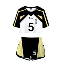 two pieces set of women's t-shirts and shorts haikyuu cosplay costume volleyball club fukurodani akaashi keiji bokuto koutarou
