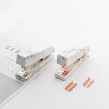 Marble Texture Stapler 24/6 Set of Stapling Machine Office Binding Stationery