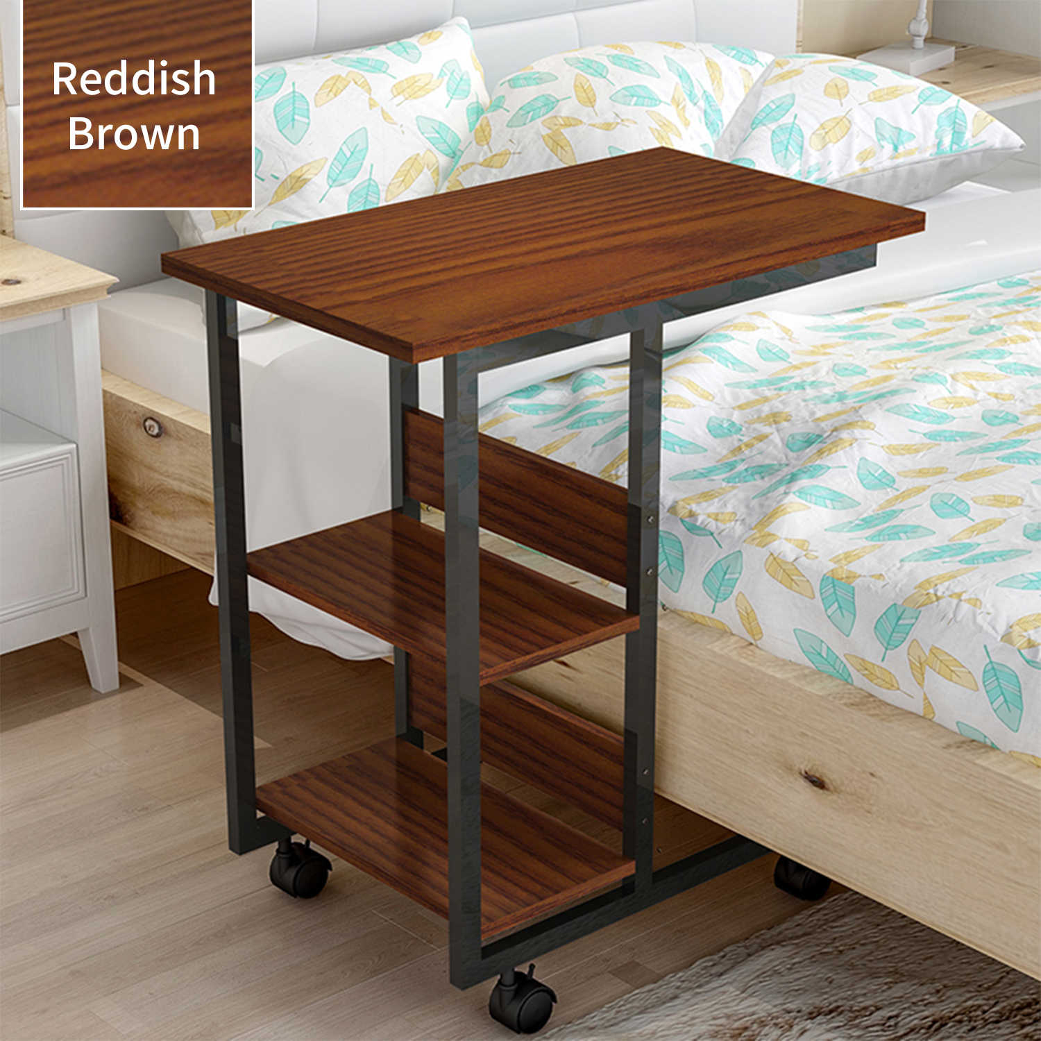 Picture of: 3 Tier Storage Rack Simple Moveable Coffee Side Table Tray For Sofa Bed Couch C Shaped Table Desk Rolling Casters With Brakes End Tables Aliexpress