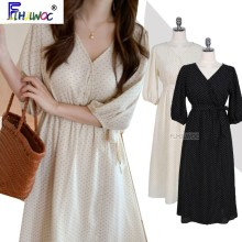 Long-Dresses Polka-Dot A-Line White Korea Women Summer Flhjlwoc 5109 Tie Ribbon-Bow Point-Shirt