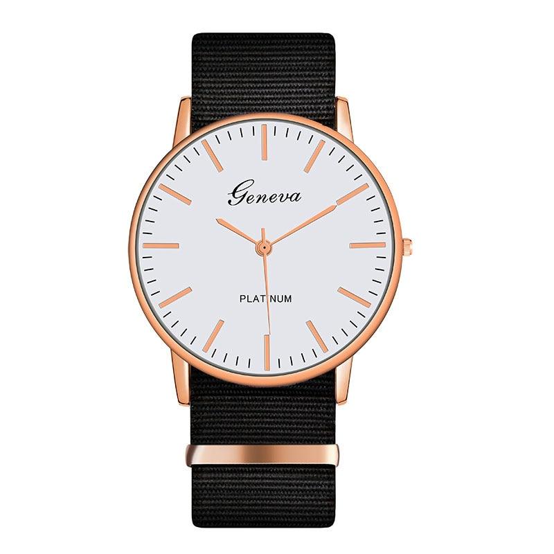 Exquise simple bracelet en Nylon femmes montres de luxe de mode montres à quartz genève platine femme horloge montre femme
