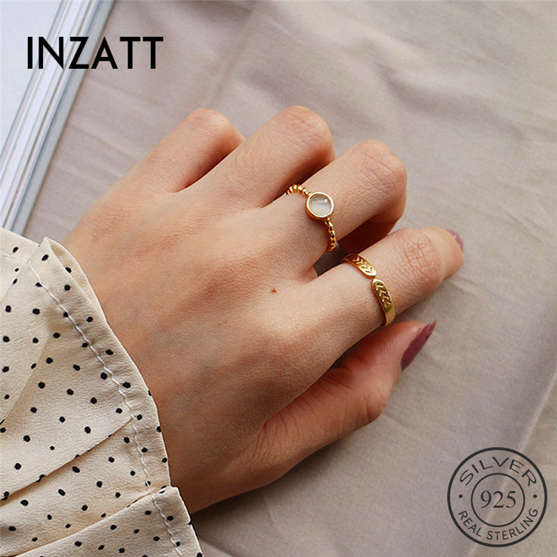 INZATT Real 925 Sterling Silver Stone Opening Ring For Fashion Women Minimalist Ring Fine Jewelry Trendy Gift 2019 Accessories