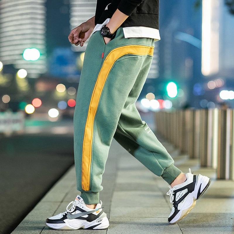 2019 UYUK Autumn/winter New Men's Japanese Large-size Patchwork Cotton Fleece Sweatpants Streetwear Homme  Joggers