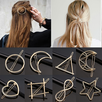 Fashion Woman Metal Geometric Circle Shape Hair Clip Accessories Triangle Hair Clip Pin Headwear Barrettes Hairband Moon Circle 1