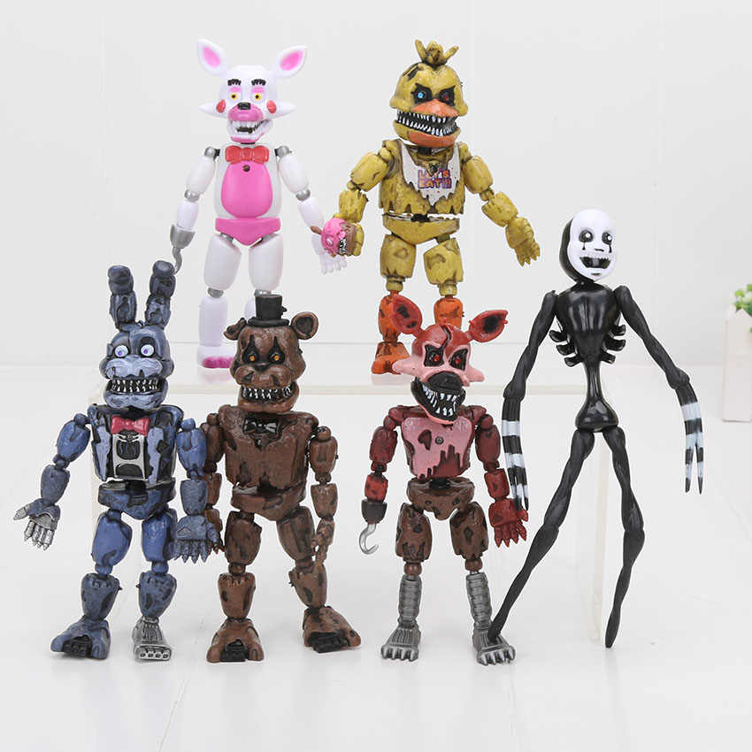 6Pcs/set LED Lightening Movable joints FNAF Five Nights At Freddy's Action Figure Toys Foxy Freddy  FNAF Fans