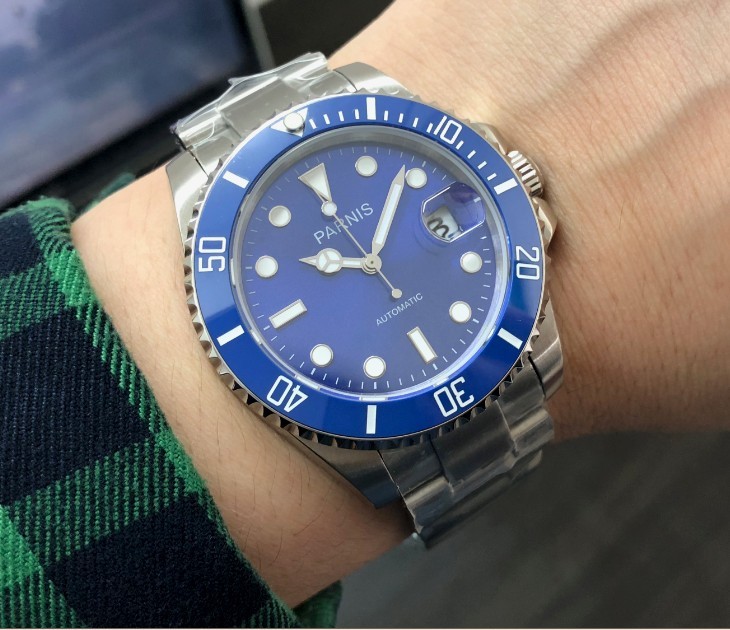 40MM PARNIS  21 jewels Automatic Self Wind movement Ceramic bezel Sapphire Crystal luminous men's watch Mechanical watches 173 8|Mechanical Watches| |  - title=