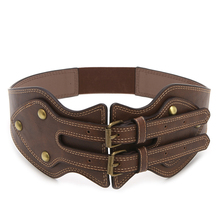 2017 Preety Women's Vintage Faux Leather Elastic Stretch Buckle Wide Waist Belt Waistband   MAY11_35 все цены