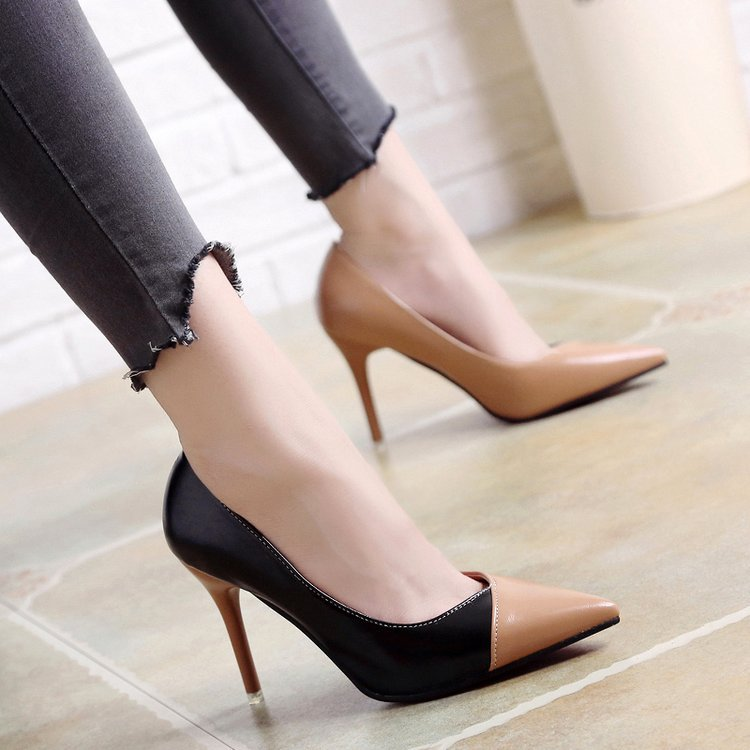 Women Pumps Fashion Spell Color High heels Single Shoes Female Spring Summer Patent leather Wedding Party shoes Woman rft5(China)