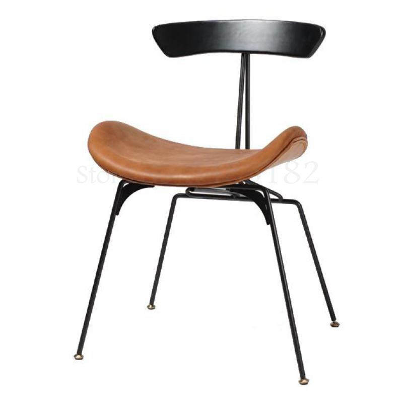 Nordic Light Luxury Dining Chair Design Simple Solid Wood Retro LOFT Iron Industrial Wind Chair Fabric Leather PU Dining Chair