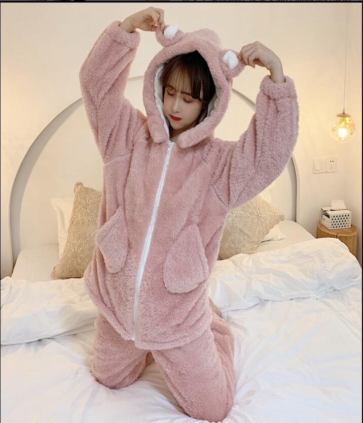 Autumn Winter New Tracksuit Pajamas Women Hooded Zipper Section Flannel Pyjamas Warm Sleepwear Female Pajamas Set