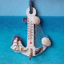 Cadeau créatif bois ancre thermomètre artisanat Art tenture murale crochet mètre jauge coquille nautique décor Vintage décoration de la maison