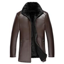 2020 zimowa skórzana kurtka mężczyźni płaszcz z kołnierzem z futra mężczyzna skórzana kurtka motocyklowa ciepłe zimowe męskie skórzane futro jaqueta M-4X tanie tanio Grube NONE Akrylowe Kieszenie Zamki Stałe REGULAR PY057 Skręcić w dół kołnierz Na co dzień zipper Pełna leather jacket