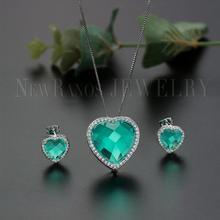 Newranos Groene Hart Sieraden Set Cubic Zircons Natuurlijke Kristallen Hanger Ketting Oorbellen Set Voor Vrouwen Mode sieraden SQM001784