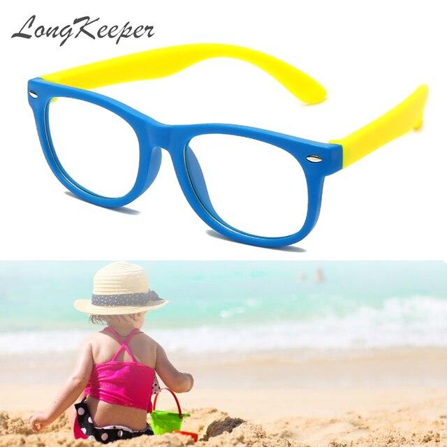 LongKeeper çocuklar Vintage UV400 gözlük yuvarlak gözlük çerçeve bilgisayar oyun şeffaf Lens Anti UV Anti mavi ışık perçin gözlük