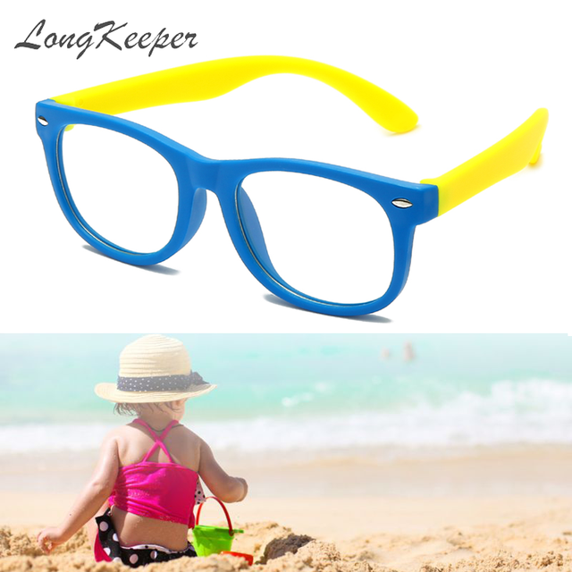 Longguard enfants Vintage UV400 Spectacle lunettes rondes cadre ordinateur jeu clair lentille Anti UV Anti lumière bleue Rivet lunettes