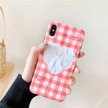 GYKZ Cartoon Bear Rabbit Grid Phone Case For iPhone XS MAX XR X 7 8 6 6s Plus Fashion Animal Pattern Soft Matte Back Cover Coque