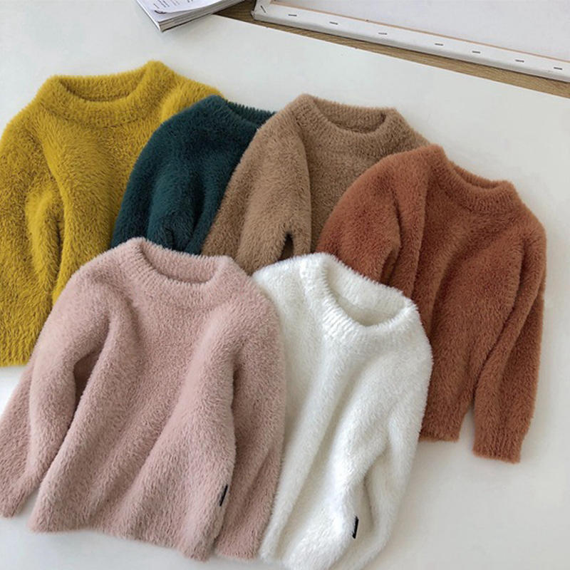 Girls Children Mink Cashmere Sweater Pullovers 2019 Winter Baby Kids Warm Jumper Coat Toddler Girl Thick Jacket 9M-5Years