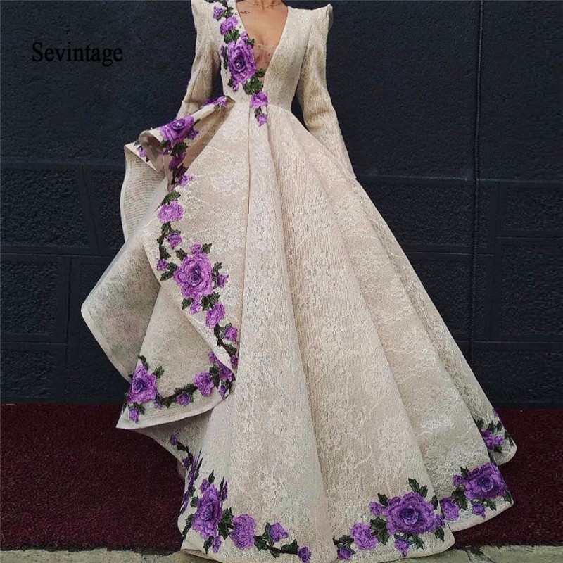 Sevintage Arabic Dubai High Low Lace Prom Dresses V Neck Flowers Long Sleeves Evening Dress Women Formal Gown Vestidos De Fiesta