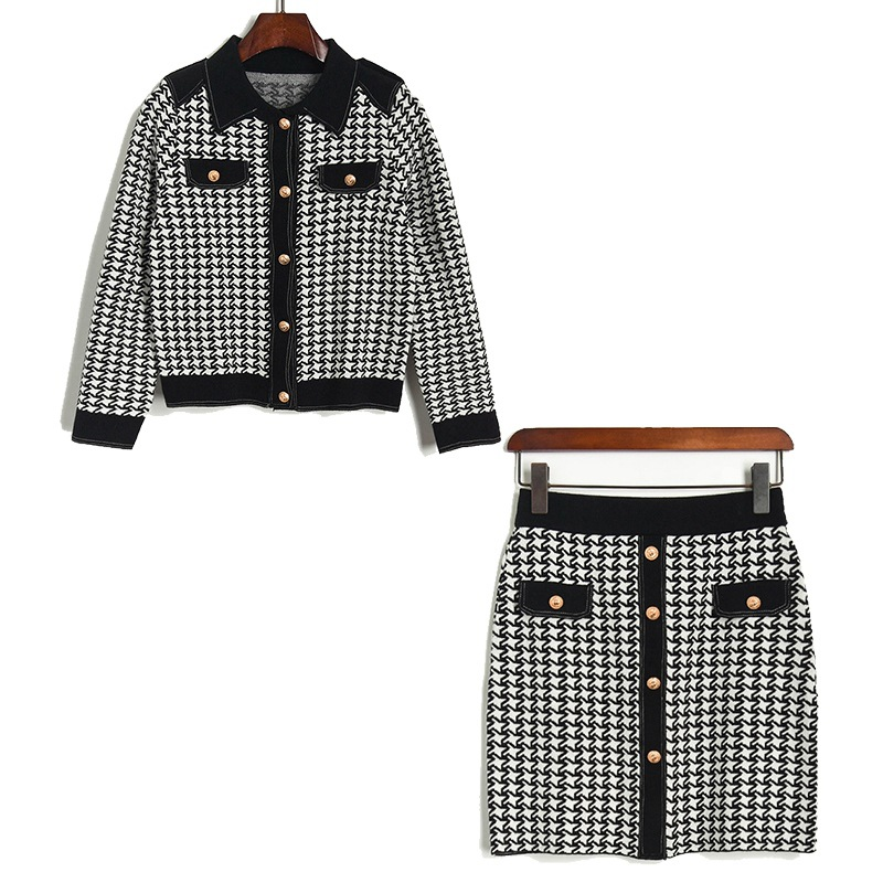 2020 Spring Women High Quality Plaid Knitted Coat+mini Skirts Two Piece Set B552