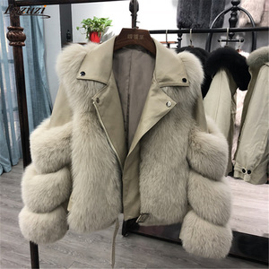 Luzuzi Fashion Faux Fox Fur Coats Women Winter Motorcycle PU Leather Turn Down Collar Warm Jacket Outwear Luxury Female 2020