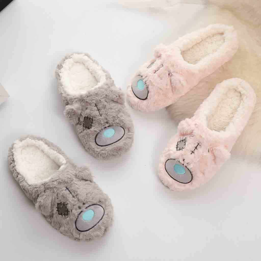 Women Indoor Home Plush Soft Cute Cotton Slippers Shoes Non-Slip Floor Slippers Girls House Shoes Indoor Bedroom Slippers