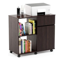 3-layer file storage cabinet left frame right cabinet-brown