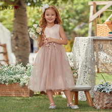 Дети платья для девочек милый мяч платье V вырез без рукавов аппликация блестки цветок девушка платья чай длина когда-либо красивая EK00789BH
