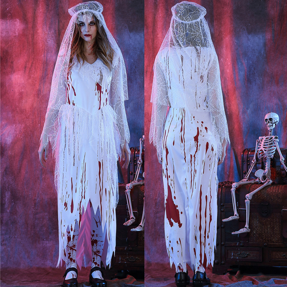 Zombie Bridal Gown Ghost Adult Women Halloween Costumes with Shaw Costume