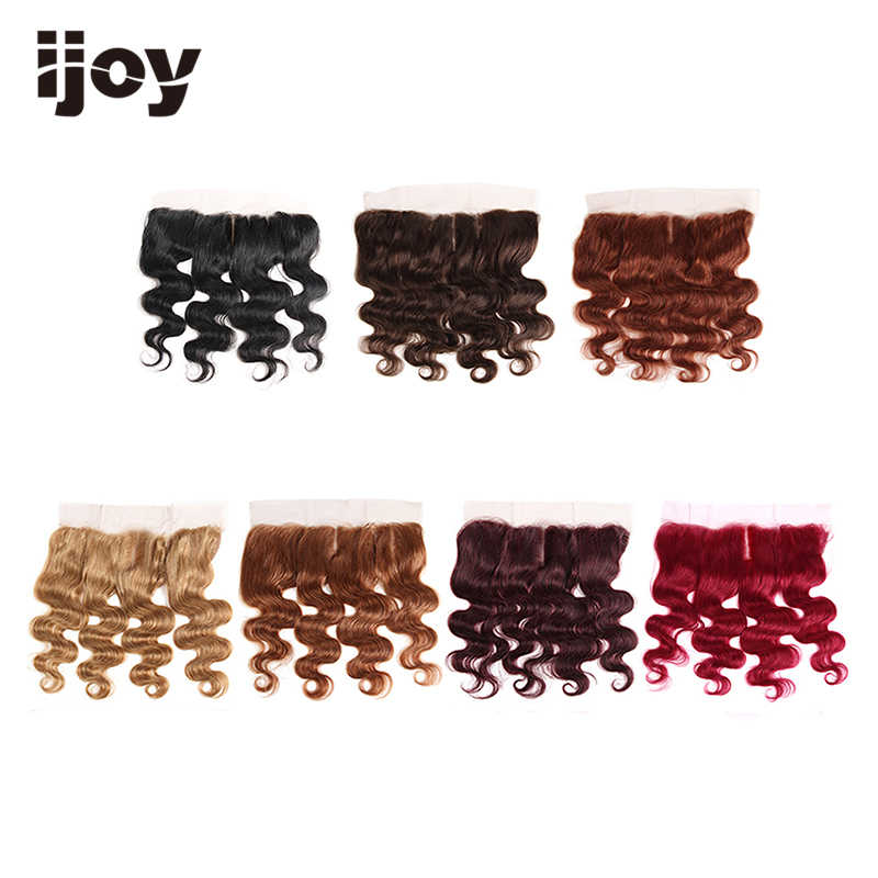 "Human Hair With 4x13 Lace Frontal #1B/4/27/30/33/99J/Burgundy 8""-20"" M Non-Remy Body Wave Closure Brazilian Hair Extension IJOY"