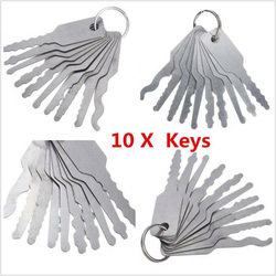 10Pcs/Set Stainless Jiggler And High Quality Keys Dual Sided Car Unlock Lock Open Repair Accessories Tool Kit