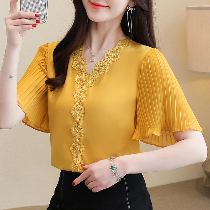 S-3XL Summer 2021 New Chiffon shirt Flare sleeve Lace Tops V-neck White Casual Women blouse Plus size