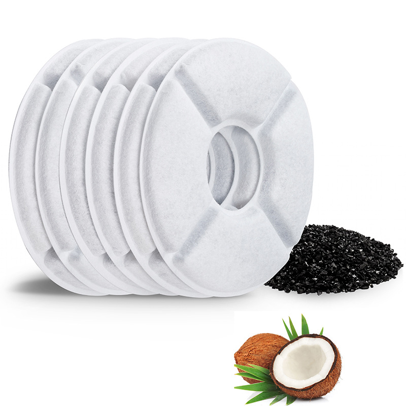 Pet filter element pet water dispenser accessories round coconut shell activated carbon plate