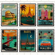 Roma, Londres, Tailandia, Parls, paisaje de viaje Vintage Retro póster decorativo pared Kraft papel póster Bar hogar Decoración nuevo regalo