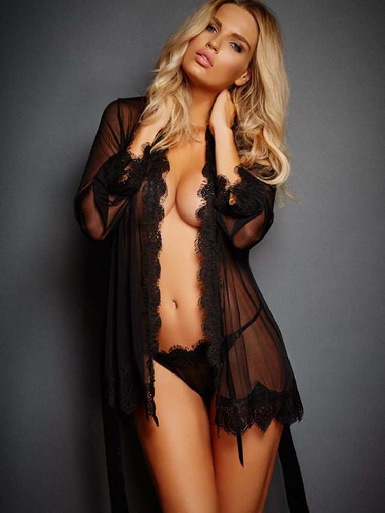 Lace Lingerie Pajamas Transparent Dress Hot-Dress Babydoll Erotic Black Sexy Woman