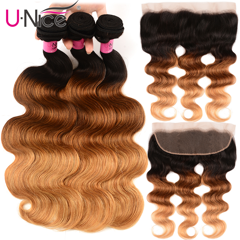 UNice Hair Brazilian Body Wave Lace Frontal Closure With 3 Bundles T1b/4/27 13x4 Remy Human Hair Bundle Lace Closure